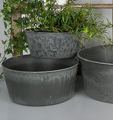 Hårdplast Grå Krukke/Blume 23x19x10cm , hemmetshjarta.dk